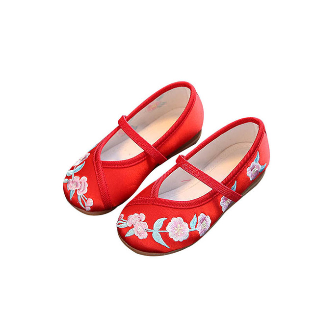 Kids Casual Cloth Shoes Sneakers for Toddler Girls Boys with Handmade Floral Embroidery M09