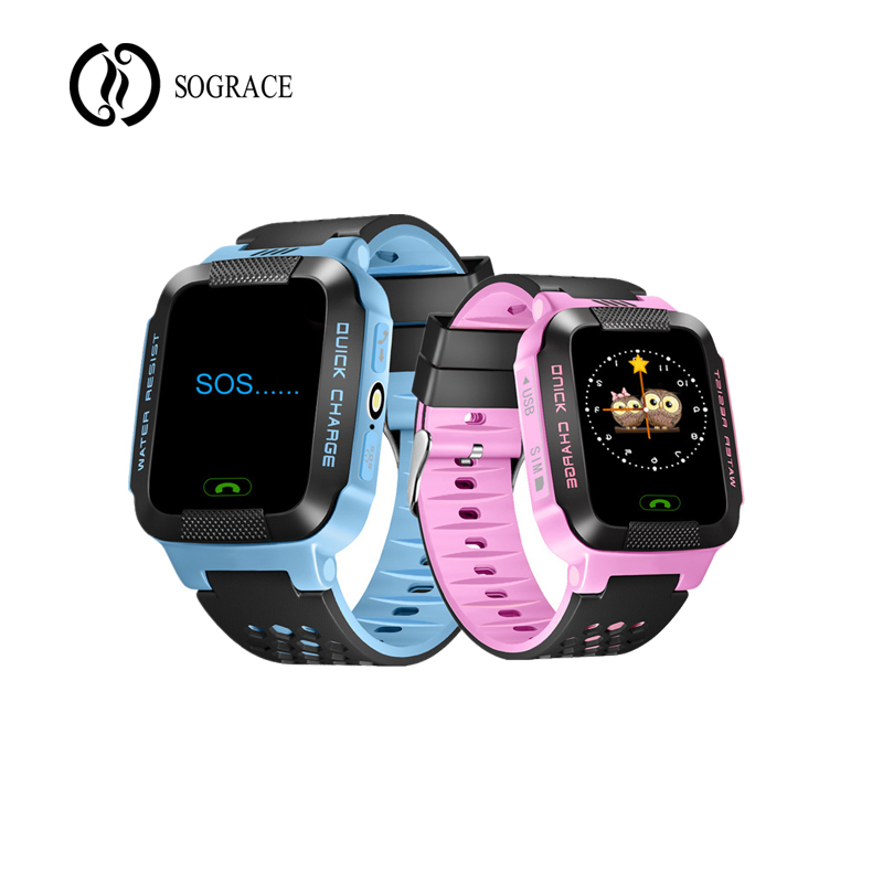 72ac6c6a6 Blue Pink Smart Watches G21 Kids Girls Boys Smartwatch GPS Smart watch  Android 2G Phone Relogio for Children Early Leaning Gift