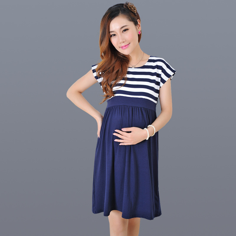 Summer Plus Size Pregnant Woman Dress New Maternity Clothes Cotton Long Top Fashion StripesCasual Striped Knee-length