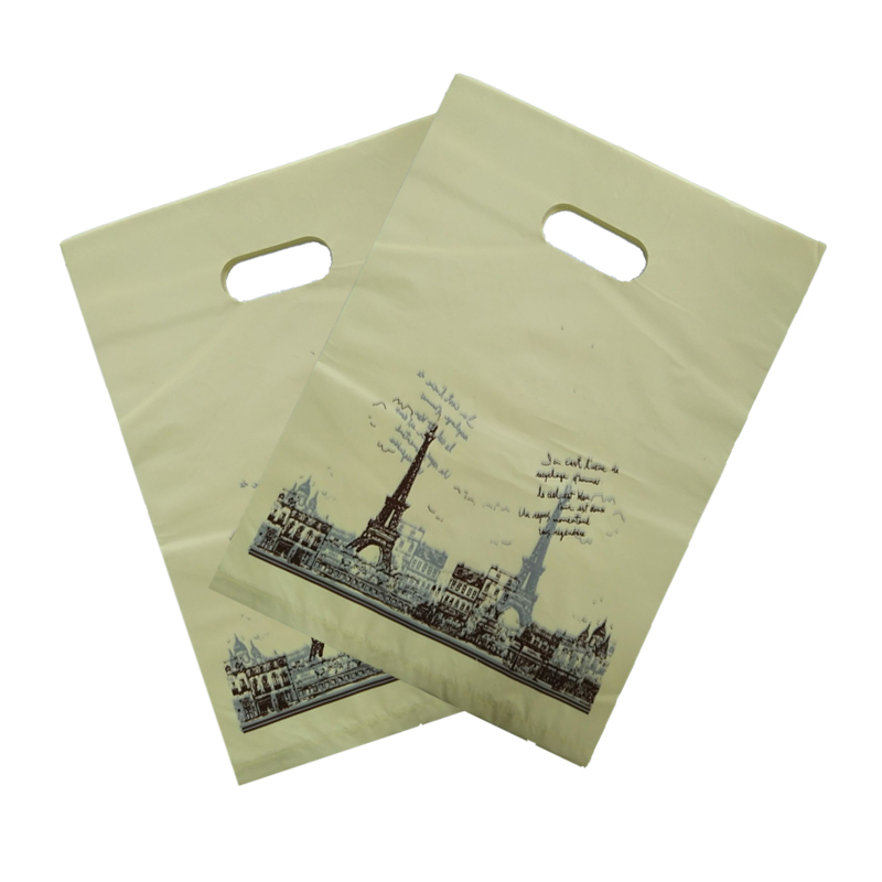 50pcs/lot 25x35cm Tower Design Yellow Plastic Shopping Bags Boutique Clothing Gifts Packaging Bags Favor Plastic Gift Bag