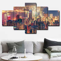 Laeacco Canvas Calligraphy Painting 5 Panel Night City Scene Posters and Prints Wall Pictures for Living Room Home Decoration