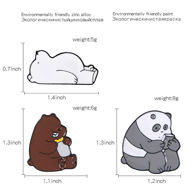 Булавка в виде животных из мультфильма голые медведи Милая гризли панда ледяной медведь джинсовые эмалированные булавки Kawaii нагрудные броши значки модные подарки