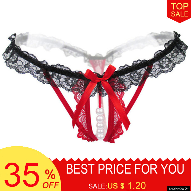 Plus Size Sexy Crotchless With Pearl Lace Bow Underwear Women's G-String Hot Erotic Women Lingerie Thongs Briefs Seamless Tangas(China)