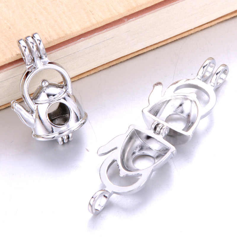6pcs Silver kettle liking Necklace Bracelet Jewelry Making Pearl Cage Locket Pendant Perfume Diffuser Jewelry For Oyster Pearl