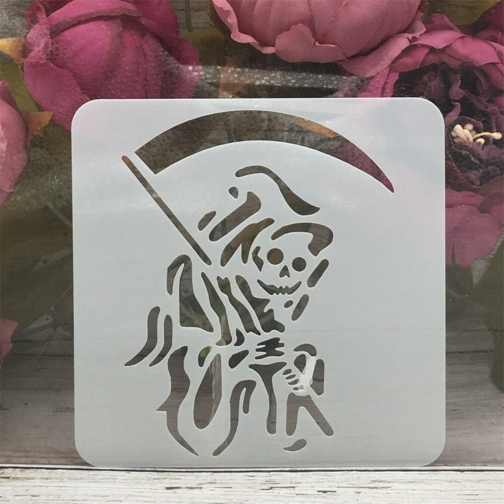 13*13cm Blade Ghost Skull Halloween DIY Layering Stencils Painting Scrapbook Coloring Embossing Album Decorative Template