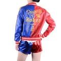 Suicide Squad Харли Квинн костюм косплей хэллоуин костюмы для женщин искусственной кожи куртка сексуальная Футболка весте партии костюм
