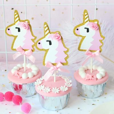 5pcs/bag Unicornio Unicorn Party Cake Topper Happy Birthday Cake Decorations Kids Beautiful Favors and Gifts Baby Shower Decora