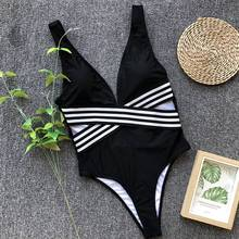 JSY Women Solid Halter One Piece Swimsuit Crossed Stripe Decoration Simple Classical Female Swimwear 3 Colors Y0039 все цены