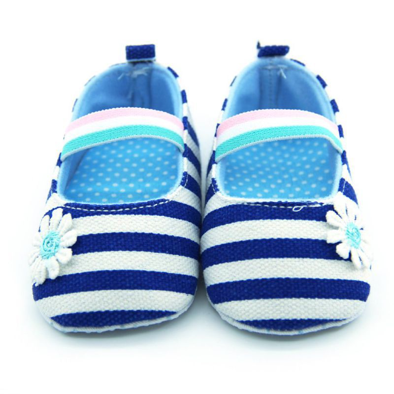 Baby First Walker Girl Canvas Striped Soft Sole Shoes Crib Shoes Infant Prewalkers 0-18 Month New