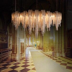 Image 5 - 現代の高級タッセルledシャンデリアシルバーゴールドアルミチェーンG9 シャンデリアランプlamparas光沢新デザインhanglamp