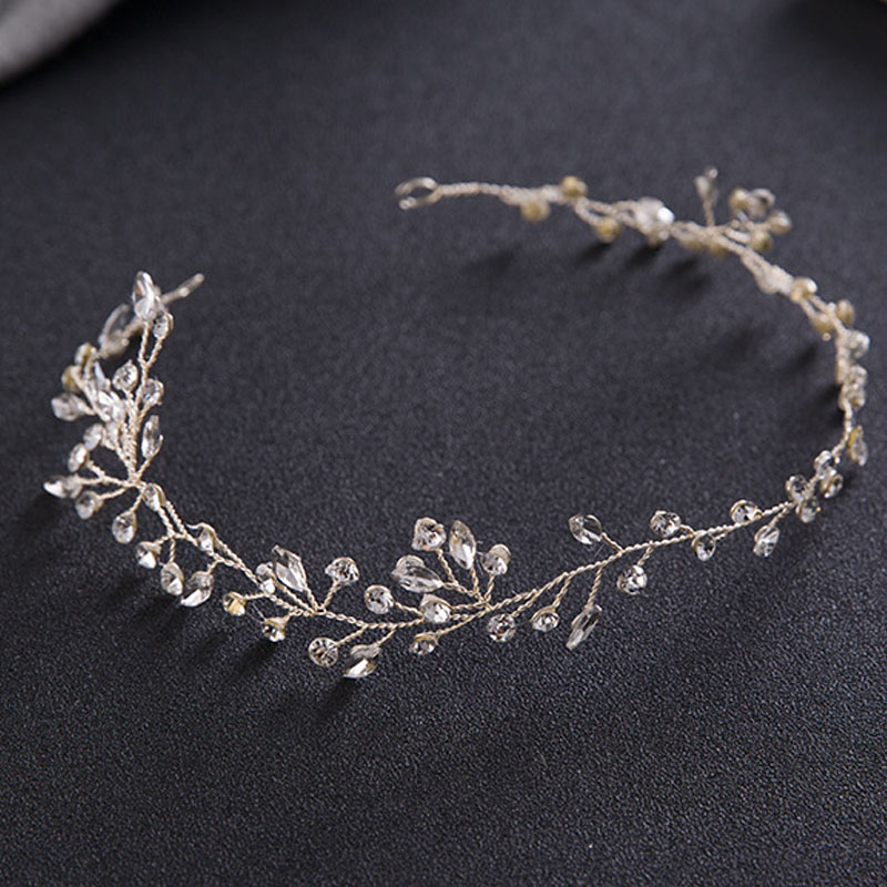 White Crystal Rhinestone Headband Handmade Tiaras de Noiva Headpiece Bridal Hair Jewelry Women Wedding Hair Piece Accessories SL