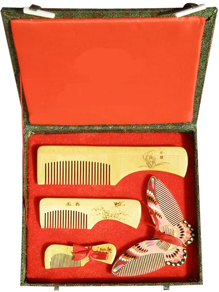 2017 New!guaranteed 100% Chinese Characteristics Gift Boxwood Comb Butterfly Group High Grade Wedding Or Business Gift-ac188-1 characteristics gift spun gold wood golden couple wedding gift j new guaranteed 100% chinese