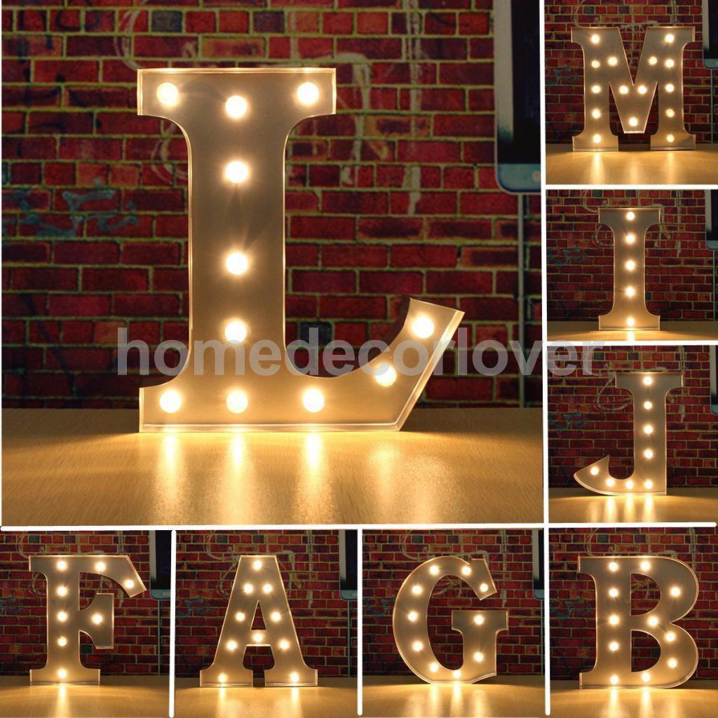 12 Silver LED Letter Light Vintage Circus Style Alphabet Light Up Sign A-X