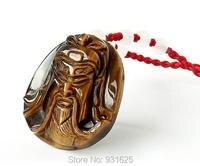 100% عين النمر جوهرة الحجر الطبيعي نحت guangong قلادة + الشحن حبل قلادة محظوظ قلادة غرامة مجوهرات بالجملة