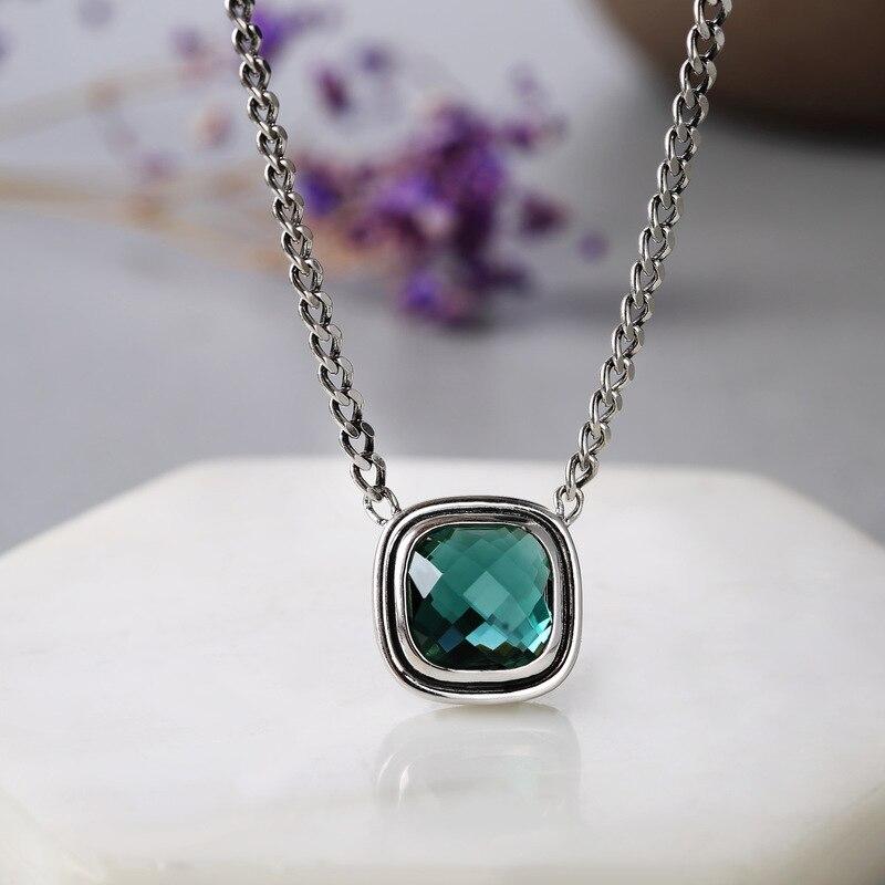 Véritable solide 925 argent Sterling émeraude pendentif collier Antique rétro cadeaux pour les femmes pierre naturelle élégant Fine bijoux