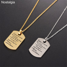 Nostalgia Stainless Steel Inspirational Christian Jewelry Necklace Bible Quotes God Grant Me The Serenity Prayer Gifts new fashion pray without ceasing bible verse christian necklace cabochon pendant inspirational jewelry women men faith gifts