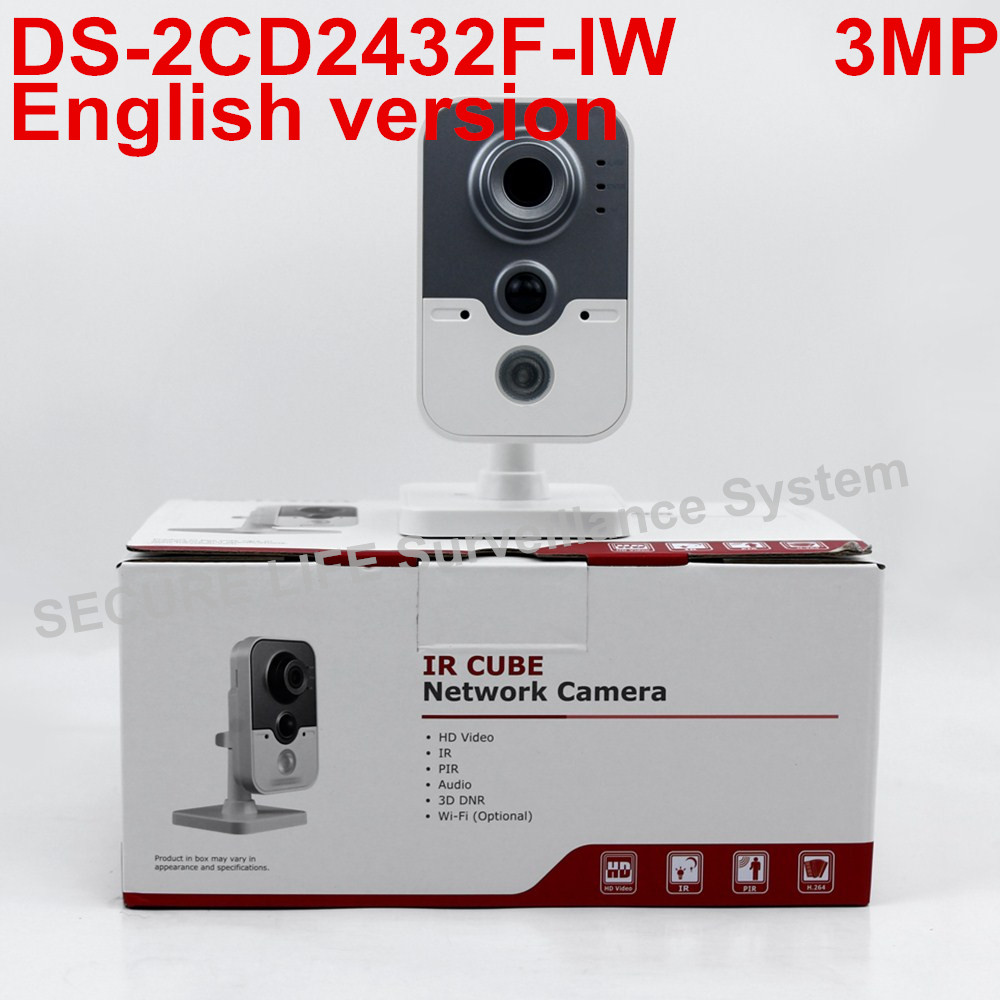 In stock DHL Free shipping DS-2CD2432F-IW English version 3MP IR mini cube cctv security POE camera, wireless ip camera