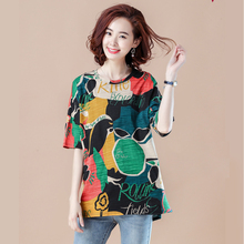 Spring and summer new style Large size ladies t-shirt Loose fashion printed casual top