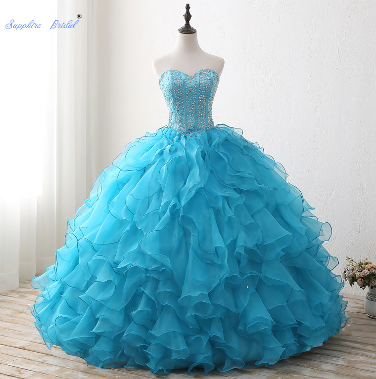 Sapphire Bridal Turquoise Tiered Lace Ruffles Long Party Gowns Vestido De 15 Anos De Sparkly Beading Ball Gown Quinceanera Dress image