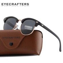 Metade Quadro clássico Óculos Polarizados Óculos de Sol Das Mulheres Dos  Homens Retro Polaroid Lente Sem Aro Semi Aro Rebite Des. 642b685984