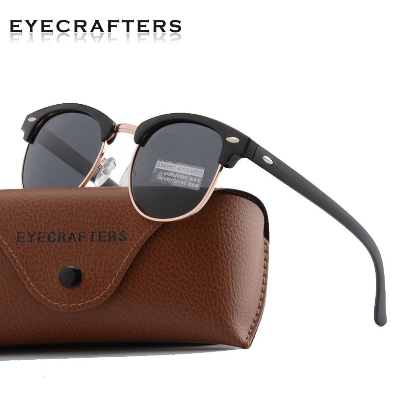 Classique Demi-Trame lunettes de Soleil Polarisées Hommes Femmes Rétro Semi Cerclées Bordé Rivet Polaroid Lentille Brand Design Lunettes de Soleil Oculos