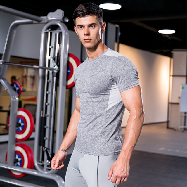New Sport Top tank men Tights Fitness Quick Dry running GYM Stretch Top Tee Shirt Fitness Hot Sale mens v-neck T-shirt 4