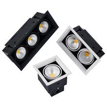 Square LED Down Light 5/7/10/12/15/20/30w LED Recessed Ceiling Light Lamp Single/Double Head Downlight led Grille Spot Light