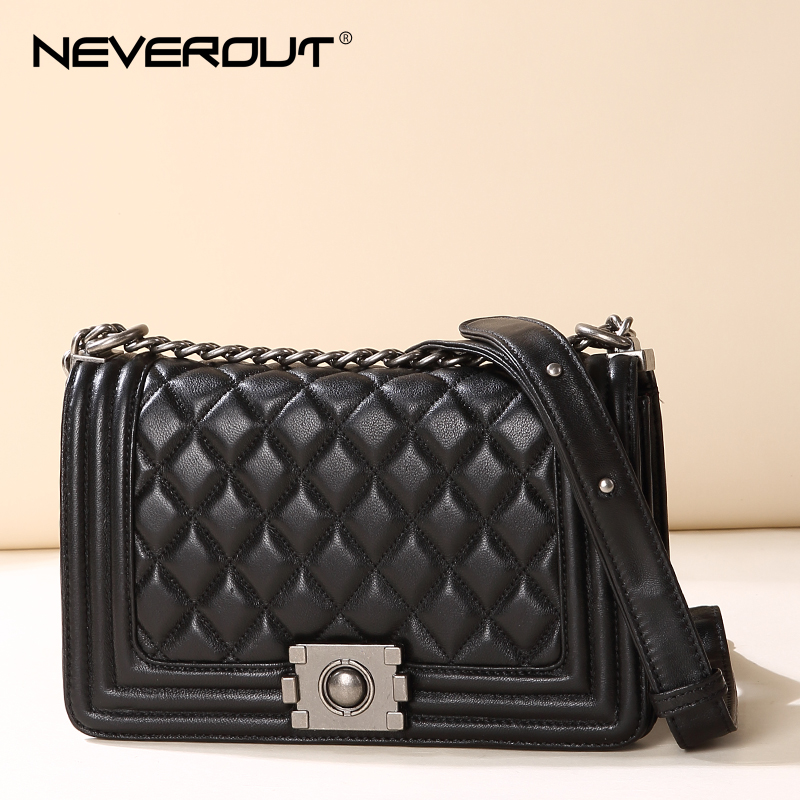 NEVEROUT Classic Diamond Lattice Genuine Leather Bag for Women High Quality Shoulder Sac Black Messenger Fashion Crossbody Bags все цены