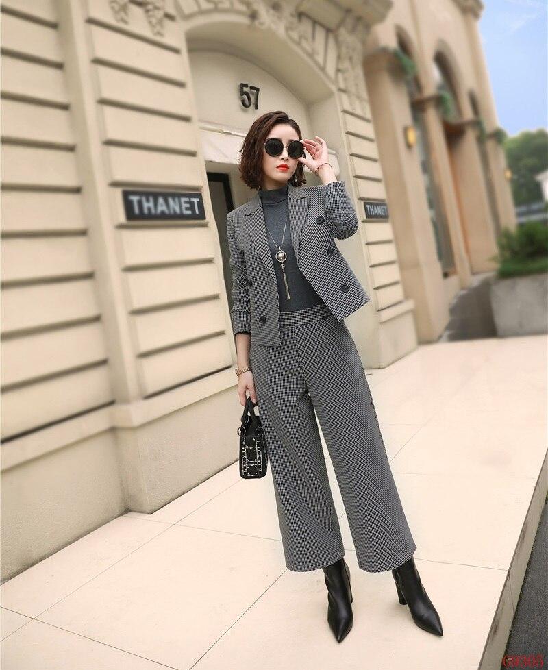 638f6f7f2 De Moda Blazer Ol Trajes Pantalón Casual Trabajo Señoras Ropa Oficina  púrpura Gris Y Gris Chaqueta Conjuntos Estilos Negocios 2019 Mujer ...
