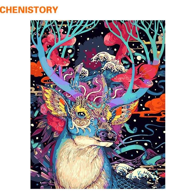 Chenistory 크리스마스 사슴 동물 diy 그림 by 번호 벽 예술 캔버스 그림 홈 장식 거실 독특한 선물 작품