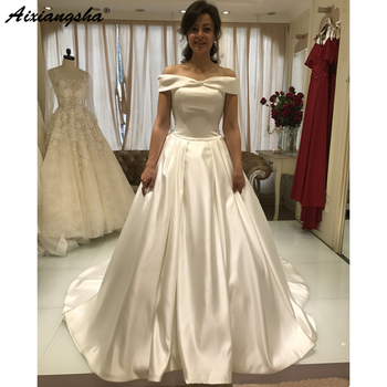 2019 New Design Boat Neck A Line Lace Bodice Satin Ivory Wedding Gowns Robe De Mariee Vintage Bride Wedding Dress