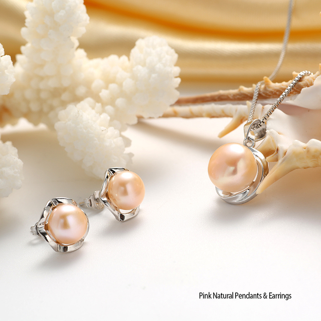 Sterling Silver Natural Pearl Pendant Set