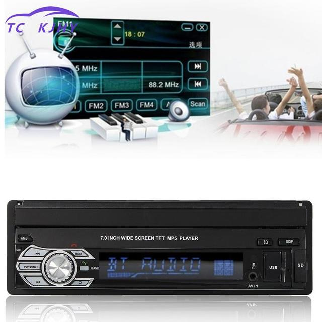 aliexpress com buy 2018 car stereo audio car radio automotivo2018 car stereo audio car radio automotivo bluetooth 1din 7 inch hd retractable touch screen monitor dvd mp5 sd fm usb player