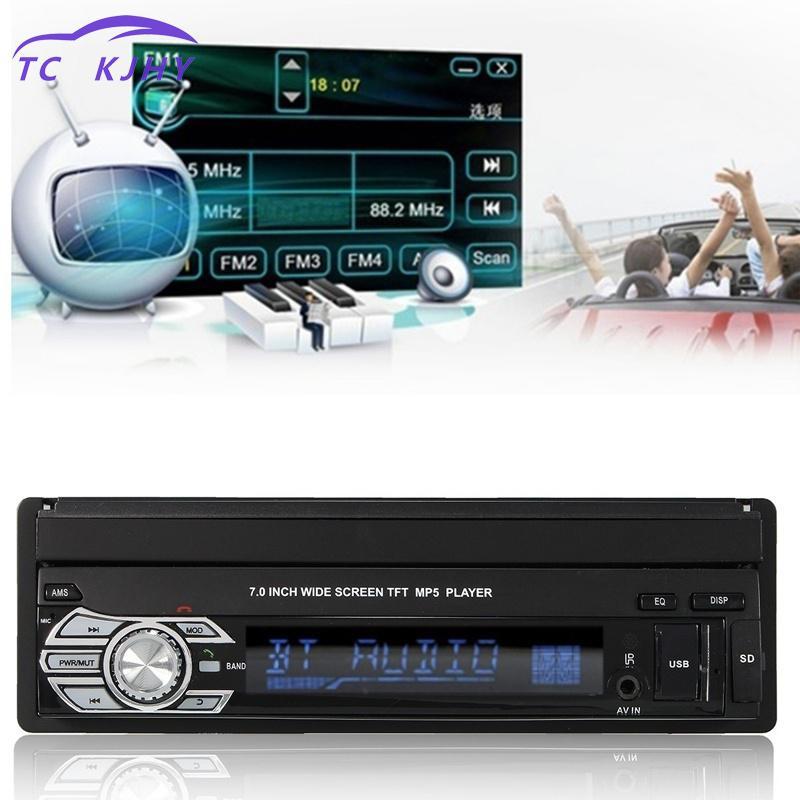 2018 Voiture Stéréo Audio Autoradio Automotivo Bluetooth 1din 7 pouce Hd Rétractable Écran Tactile Moniteur Dvd Mp5 Sd Fm usb Lecteur