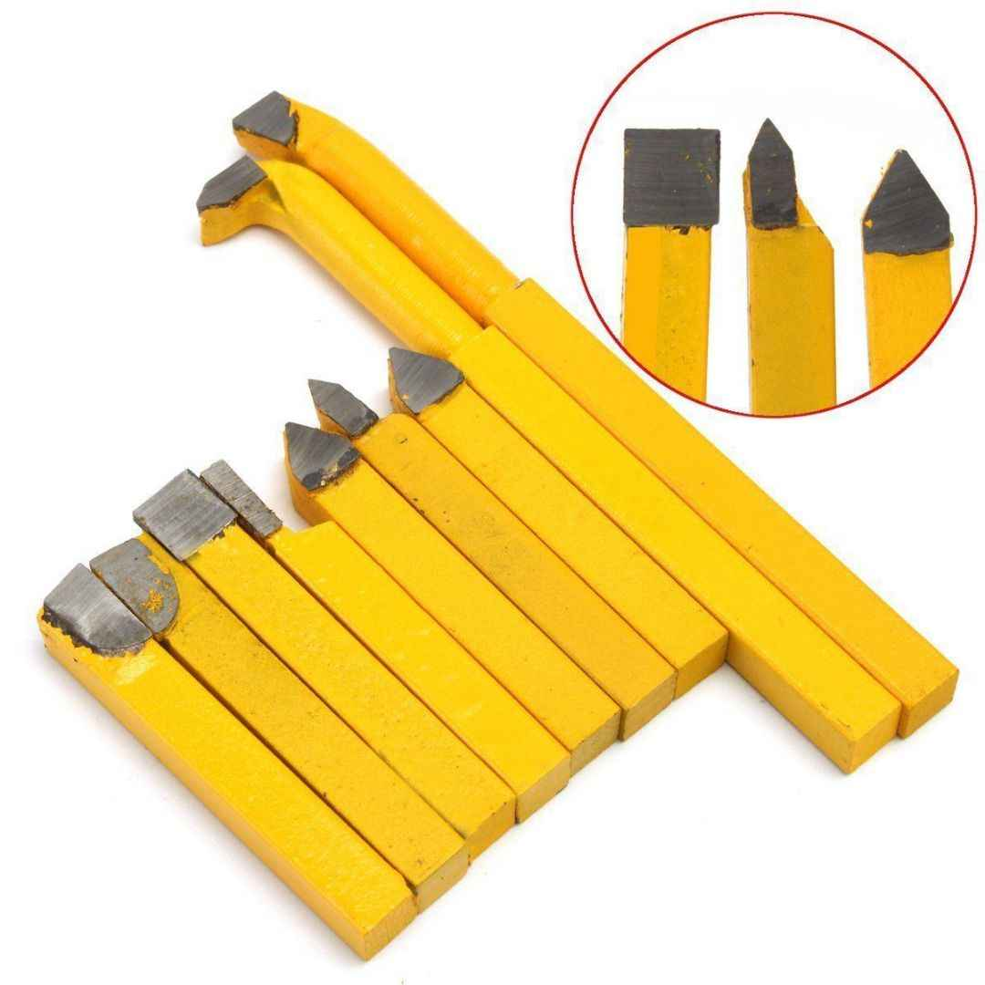 DSHA 9pcs/Set YW1 Carbide Brazed Tip Tipped Lathe Cutter Tools 8x8mm Shank High Hardness Turning Milling Welding Bit