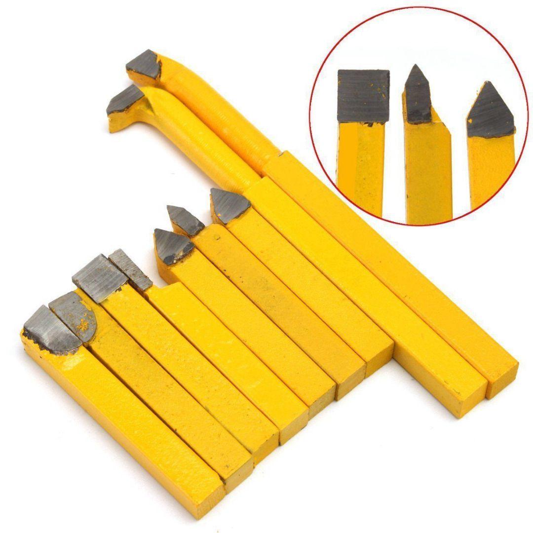 DSHA 9pcs/Set YW1 Carbide Brazed Tip Tipped Lathe Cutter Tools 8x8mm Shank High Hardness Turning Milling Welding Bit