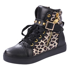 Spirng Autumn High Top women's Shoes Nice New Fashion Rivets Buckle Ladies Leopa