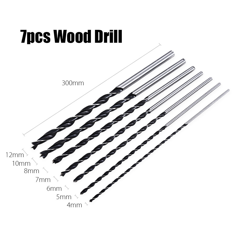7pc X Long Wood Drill Bit Set 4mm 5mm 6mm 7mm 8mm 10mm 12mm x 300mm Brad Point