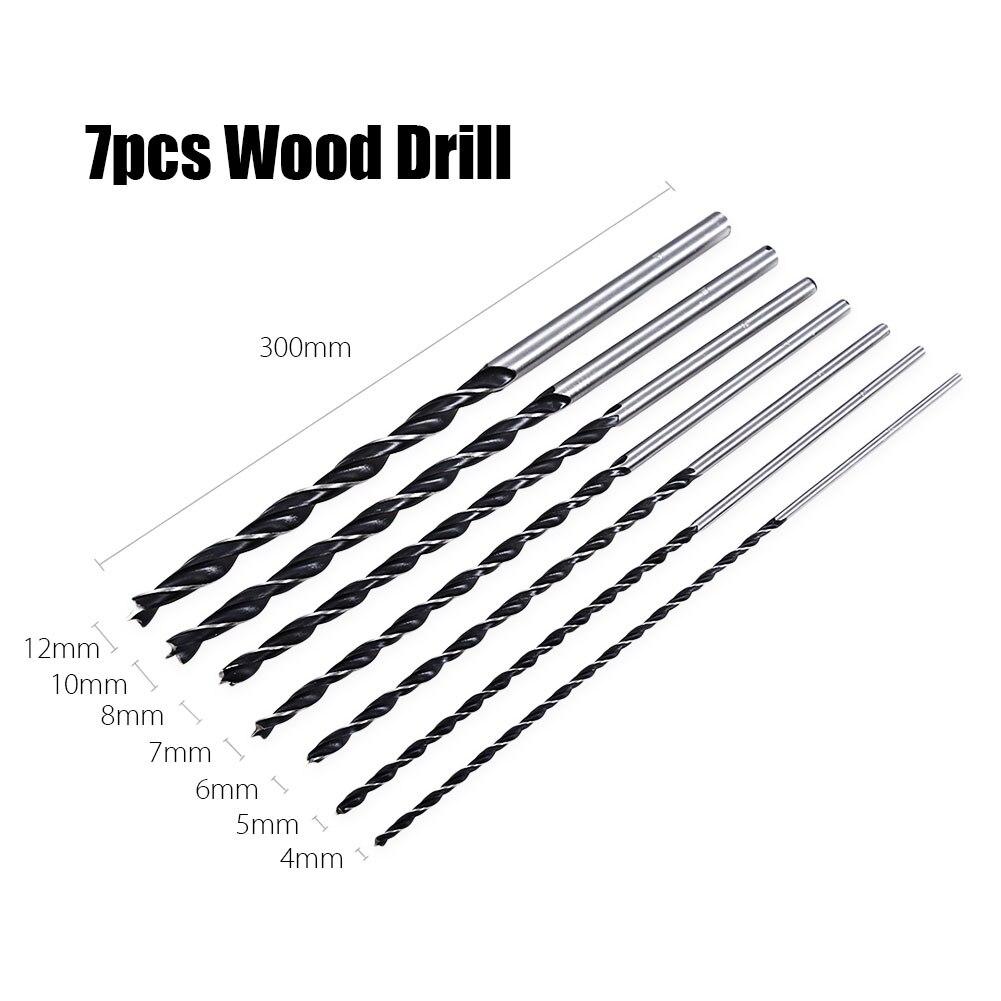 7pc X Long Wood Drill Bit Set 4mm 5mm 6mm 7mm 8mm 10mm 12mm X 300mm Brad Point