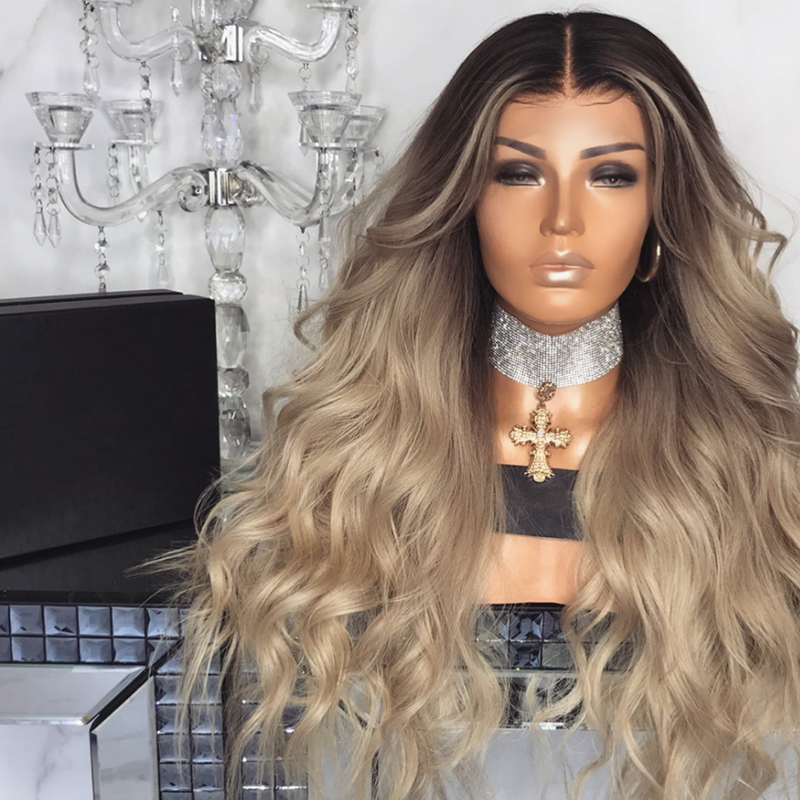 Gradient long curly hair Wignee Ombre Brown Blonde High Temperature Synthetic Wig For Women Glueless Wavy Cosplay Hair Wig Piece long side bang colormix layered wavy synthetic wig