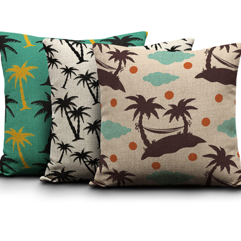Tropical Trees Printed Cushion Cover Cotton Linen Throw Pillow Cases Home Sofa Bed Decorative Cojines Tree Beach Loungers