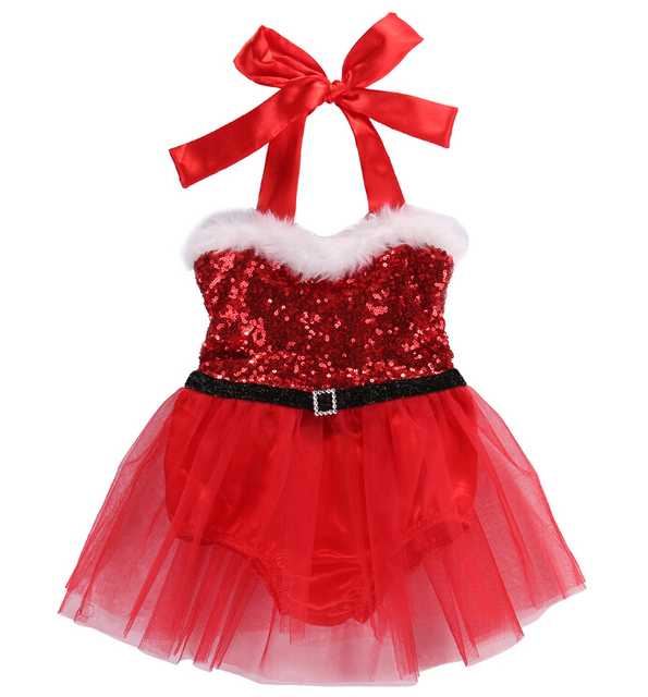 6f50fdccb89 Kids Baby Girls Lace Tutu Romper Dress Red Green Christmas Sequins Romper  Jumpsuit Outfits Xmas