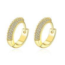 Женские серьги кольца huggie с микро покрытием из желтого золота