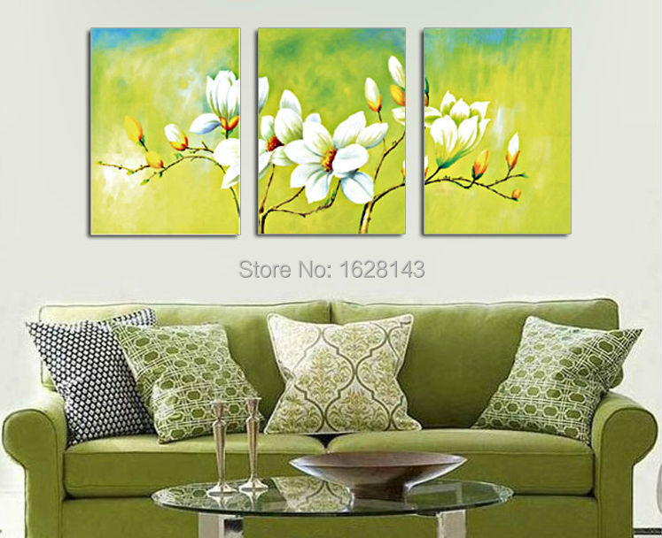 Frameless free shipping green canvas painting white flowers 3 piece art picture home decor on - Home decor promo code paint ...