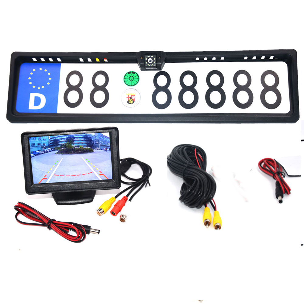 4 3 TFT Car Monitor   Rear View Camera Waterproof EU European License Plate Frame Parktronic Reverse Night Vision Backup Camera