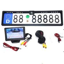 4,3 TFT автомобильный монитор + камера заднего вида, водонепроницаемая, Европейская Рамка для номерного знака, Парктроник, камера заднего вида с ночным видением