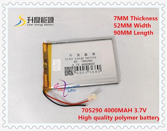 3.7 V 4000 mAH 705290 (íon de lítio polímero bateria/Li-ion) para Power bank tablet pc GPS mp3 mp4 brinquedo