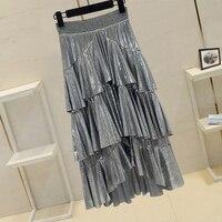 2019 Spring Summer New High Waist Medium Long Silver Skirts Women's Ruffles Edge Shiny Glossy Cake Skirt for Girls