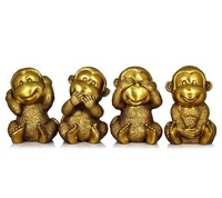 Best Gift!!! Chinese Home Decorated Brass Carved 4 lucky happy monkey Sculpture/Metal Animal Statue