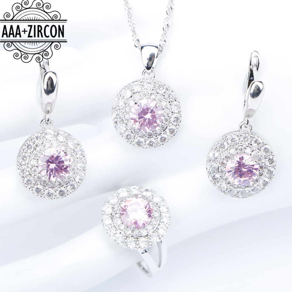 все цены на Round Silver 925 Wedding Jewelry Sets Women Pink Zircon Necklaces Pendants Rings Earrings With Stones Set of Jewelery Gift Box